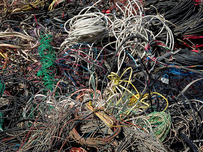 Scrap cables pile