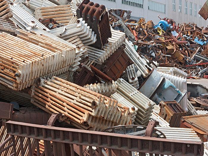 Cast iron scrap metal pile