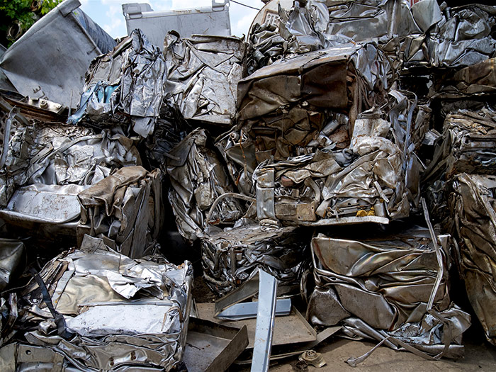 Scrap stainless steel pile