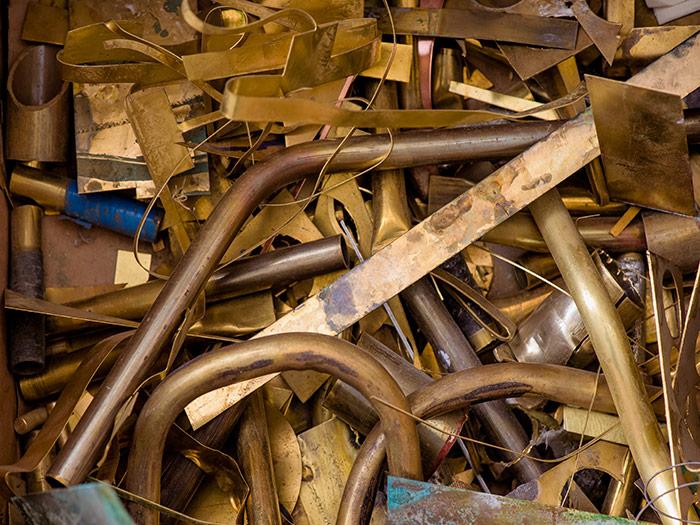 Scrap brass pile